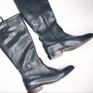 Nine West Blue Pointed Toe Riding Boots + Silver